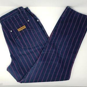 vintage Gitano pink striped blue jeans